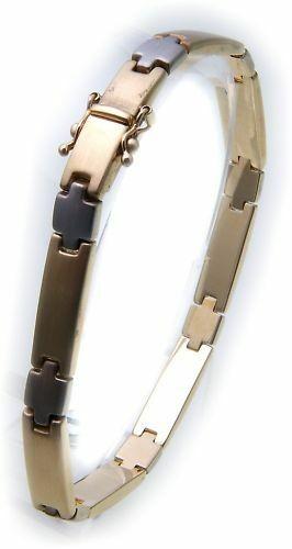 exklusives Armband echt Gold 585 Bicolor mattiert 14kt Damen Gelbgold