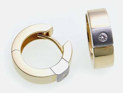 Damen Ohrringe Klapp Creolen bicolor Gold 585 Brillant 0.08ct Gelbgold BR2577 BR