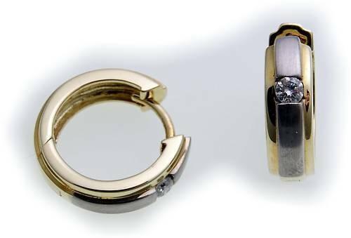 Damen Ohrringe Klapp Creolen echt Gold 750 Brillant 0.12ct Gelbgold Diamant Neu