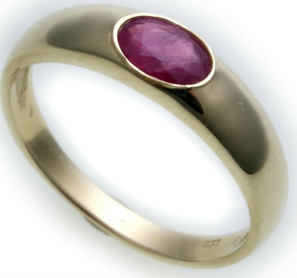 Bestpreis Damen Ring echt Gold 585 Rubin 14kt Gelbgold rot made Germany