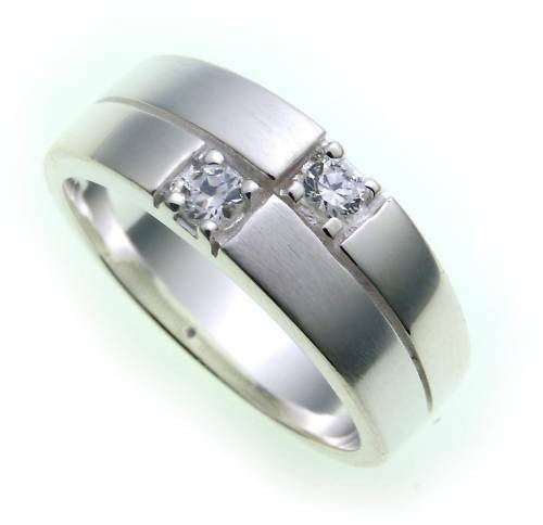 Damen Ring echt Silber 925 Zirkonia teilmattiert Sterlingsilber