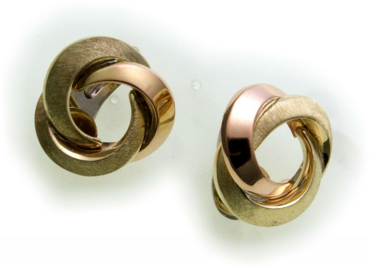 Sonderpreis Damen Ohrringe Clip Gold 585 Knoten Rot Gelb Gold mehrfarbig Ohrclip
