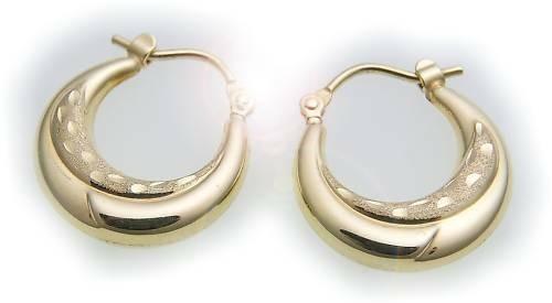 Damen Ohrringe Creolen echt Gold 333 teilmattiert 8kt Ohrschmuck Gelbgold