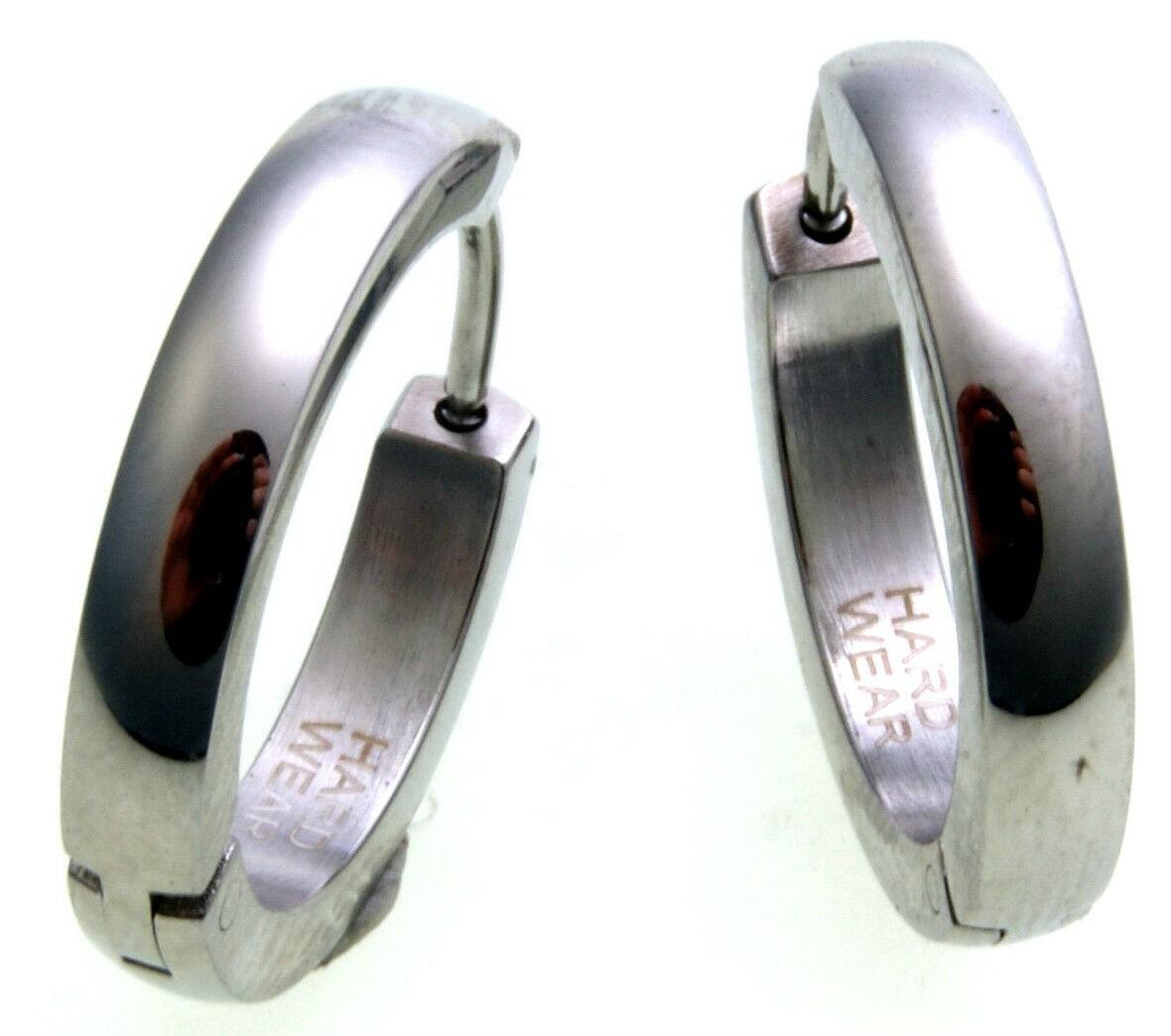 hochwertige Klapp Creolen Edelstahl 18 mm Hardwear by Landmesser Ohrringe Unisex