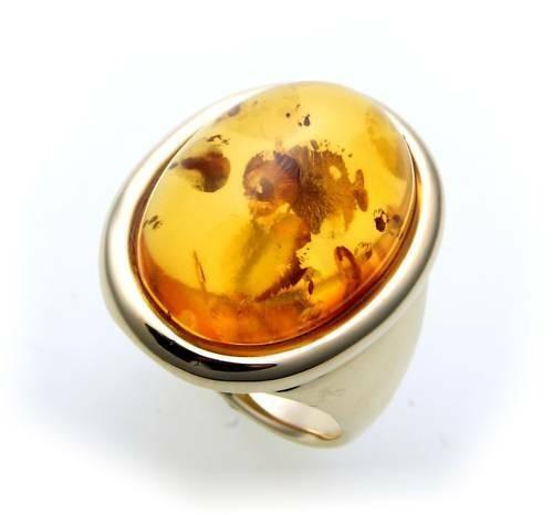 Damen Ring echter Bernstein aus de Ostsee echt Gold 333 Gelbgold Qualität 8529/3