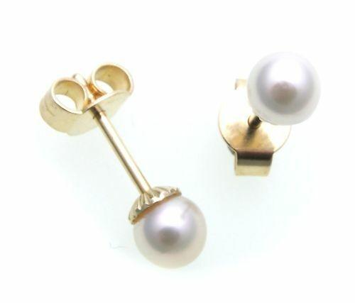 Damen Ohrringe echt Süßwasserzuchtperlen 5 mm Gold 585 Perlen Gelbgold N6840 SWP