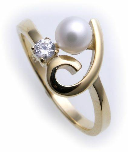 Damen Ring Zirkonia echt Gold 333 Perle 5 mm Zuchtperle Gelbgold 8kt