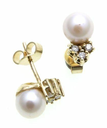 Damen Ohrringe Ohrstecker Gold 585 Gelbgold Brillant 0,09ct Perlen 7mm Diamant