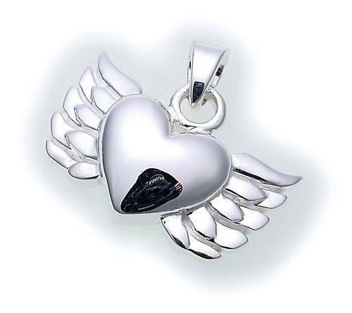 Damen Anhänger echt Silber 925 Herz Flügel rhodiniert Sterlingsilber Qualität
