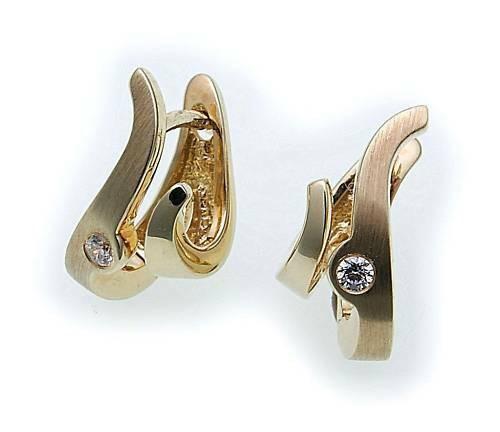 Damen Ohrringe Klapp Creolen Gold 375 mit Zirkonia 15mm Gelbgold