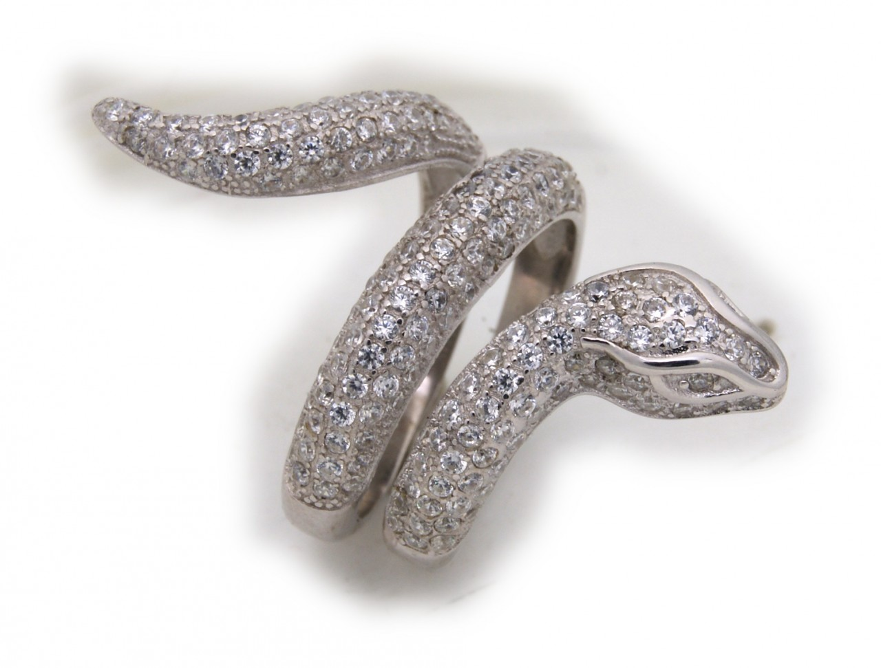exkl. Schlangenring echt Silber 925 mit Zirkonia Ring Schlange Sterlingsilber
