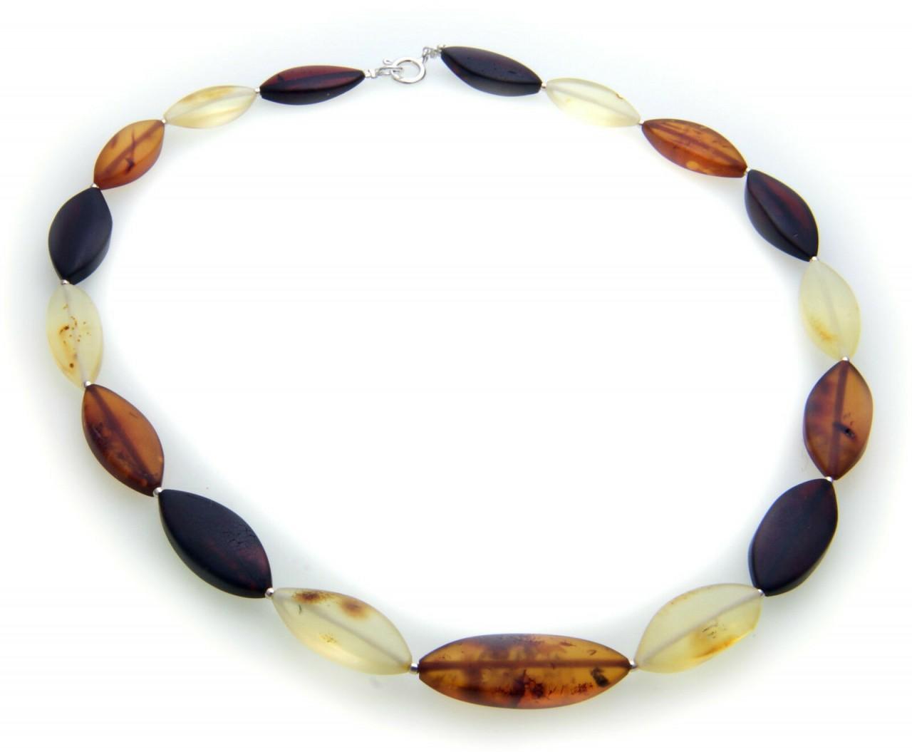 Halskette Bernstein aus der Ostsee Collier Oliven flach Sterlingsilber