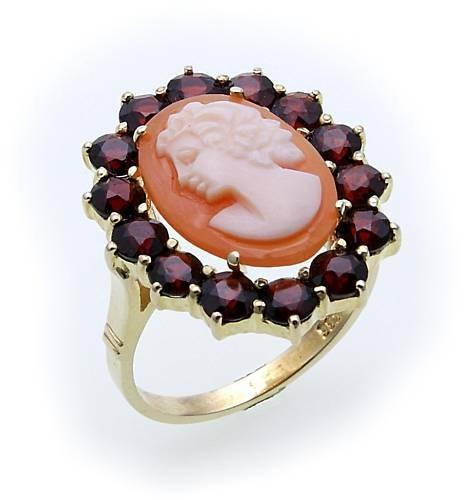 Damen Ring Granat Muschelgemme in Silber 925 Granatring Sterlingsilber 8913/3GR.