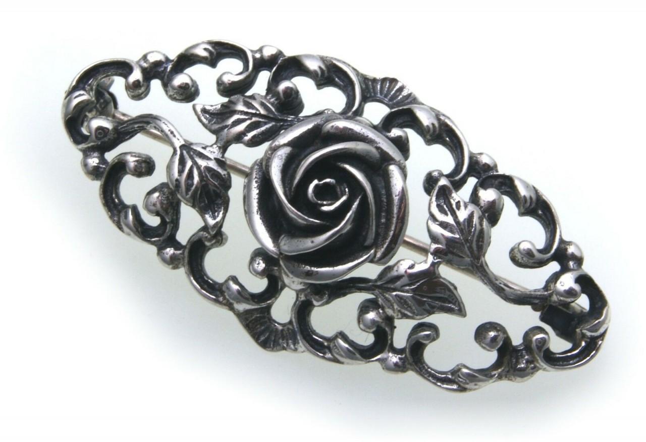 Brosche echt Silber 925 Rose Jagdschmuck Grandelschmuck Grandelbrosche