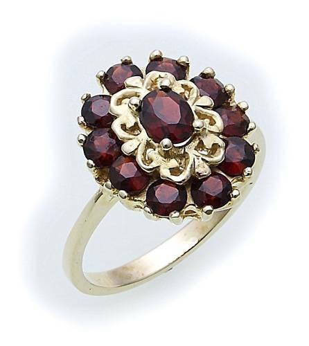 Damen Ring m. Granat in Gold 585 Gelbgold Granatring alle Weiten 8261/5GR