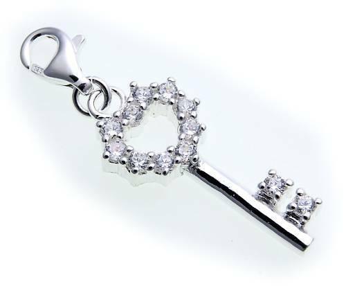 Charm Schlüssel Zirkonia Silber 925 Bettelarmband Sterlingsilber Qualität