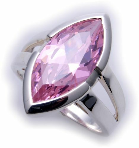 großer Ring echt Silber 925 Zirkonia pink XL Stein Sterlingsilber