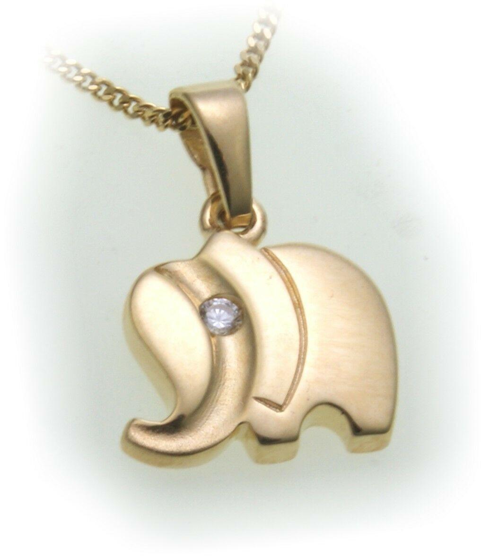 Anhänger Elefant echt Gold 333 mit Zirkonia massiv 8kt Qualität Gelbgold Unisex