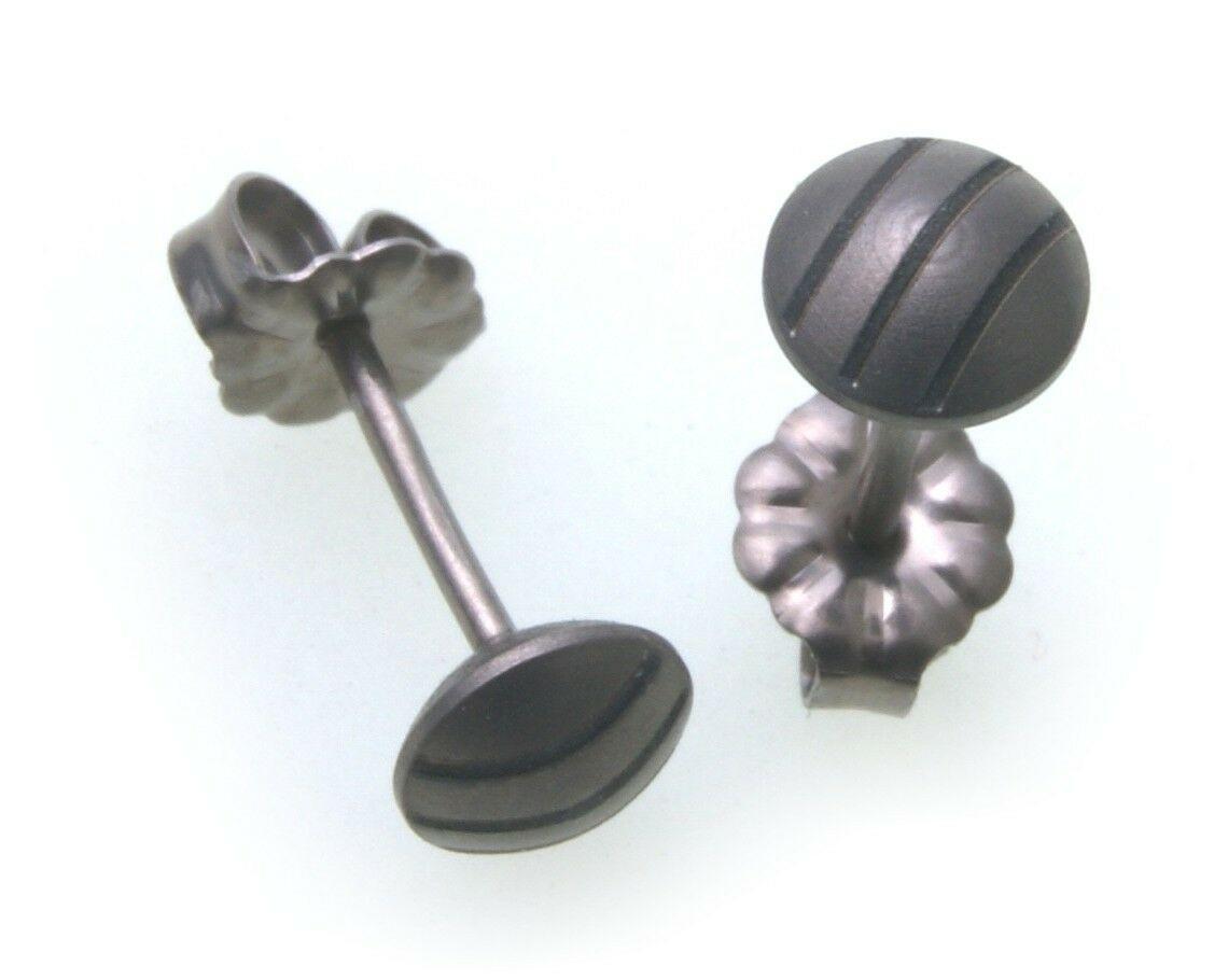Ohhringe Stecker aus Titan mattiert rund Linsenform Ohrstecker