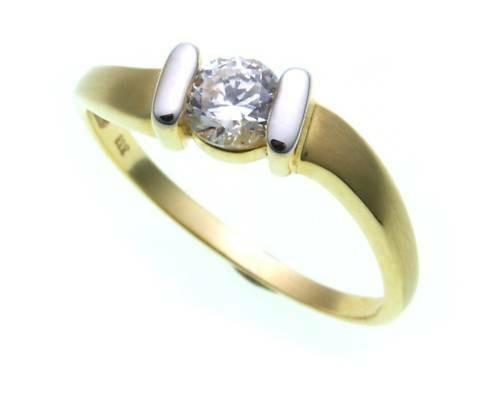 Damen Ring Gold 585 1 Zirkonia Fassung rhodiniert matt Gelbgold Qualität