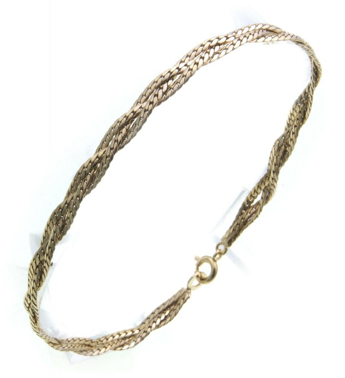 edles Armband Double vergoldet 18,5 cm Zopfkette Sonderpreis Damen Gelbgoldbesch