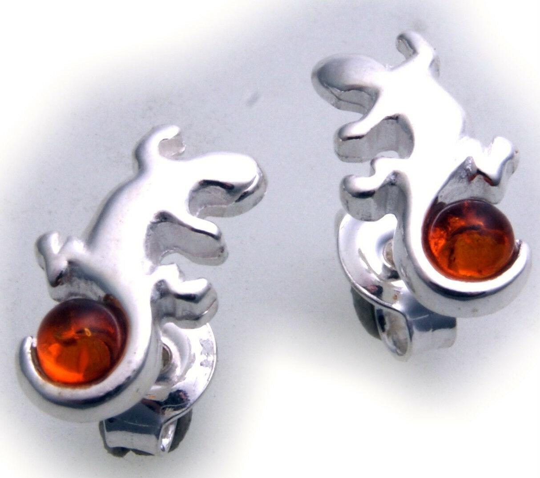 Damen Ohrringe Gekko Bernstein Salamander Silber 925 Sterlingsilber Ohrstecker