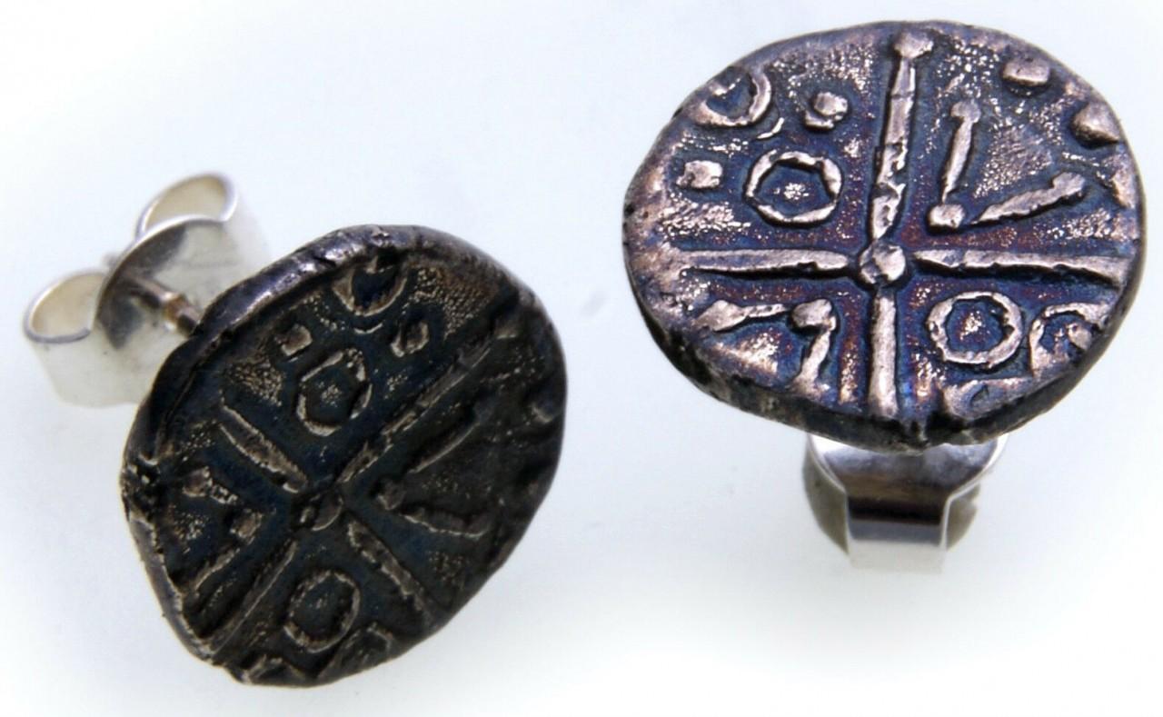 Ohrringe Keltenmünze Replika Silber 925 Sterlingsilber Ohrstecker Kelten Münze