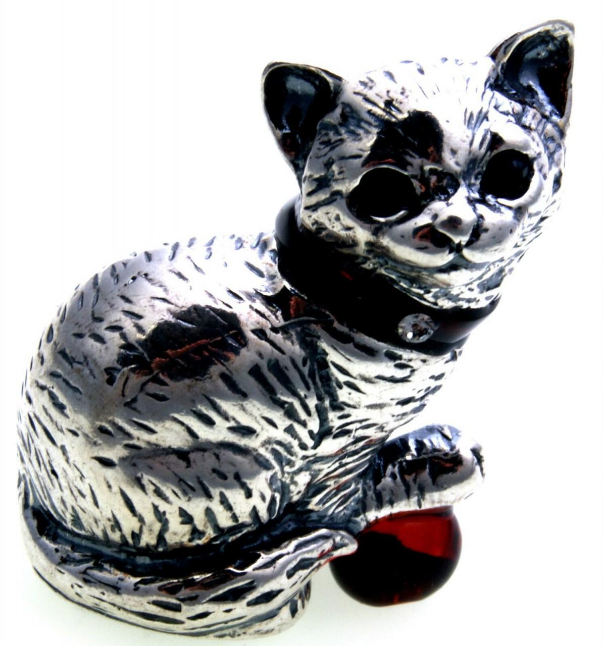 Katze echt Silber 925 mit Bernstein Sterlingsilber Figur Handarbeit Qualität