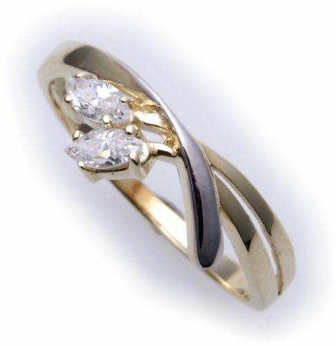 Damen Ring echt Gold 585 Zirkonia Navette 14kt teilrhod. Bicolor Gelbgold