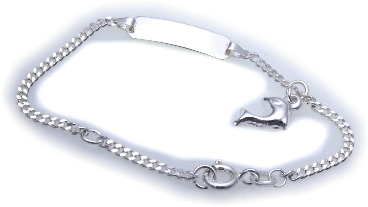Kinderarmband Panzerkette Delfin 14,5 cm incl. Gravur Silber 925 mit Zwischenöse