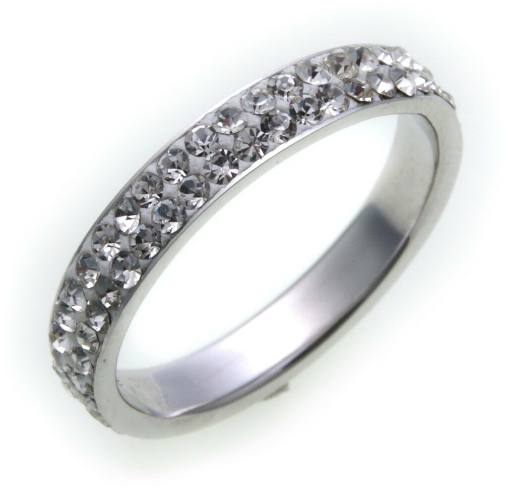 Damen Ring Kristall Weiß echt Silber 925 Pavee Sterlingsilber Qualität