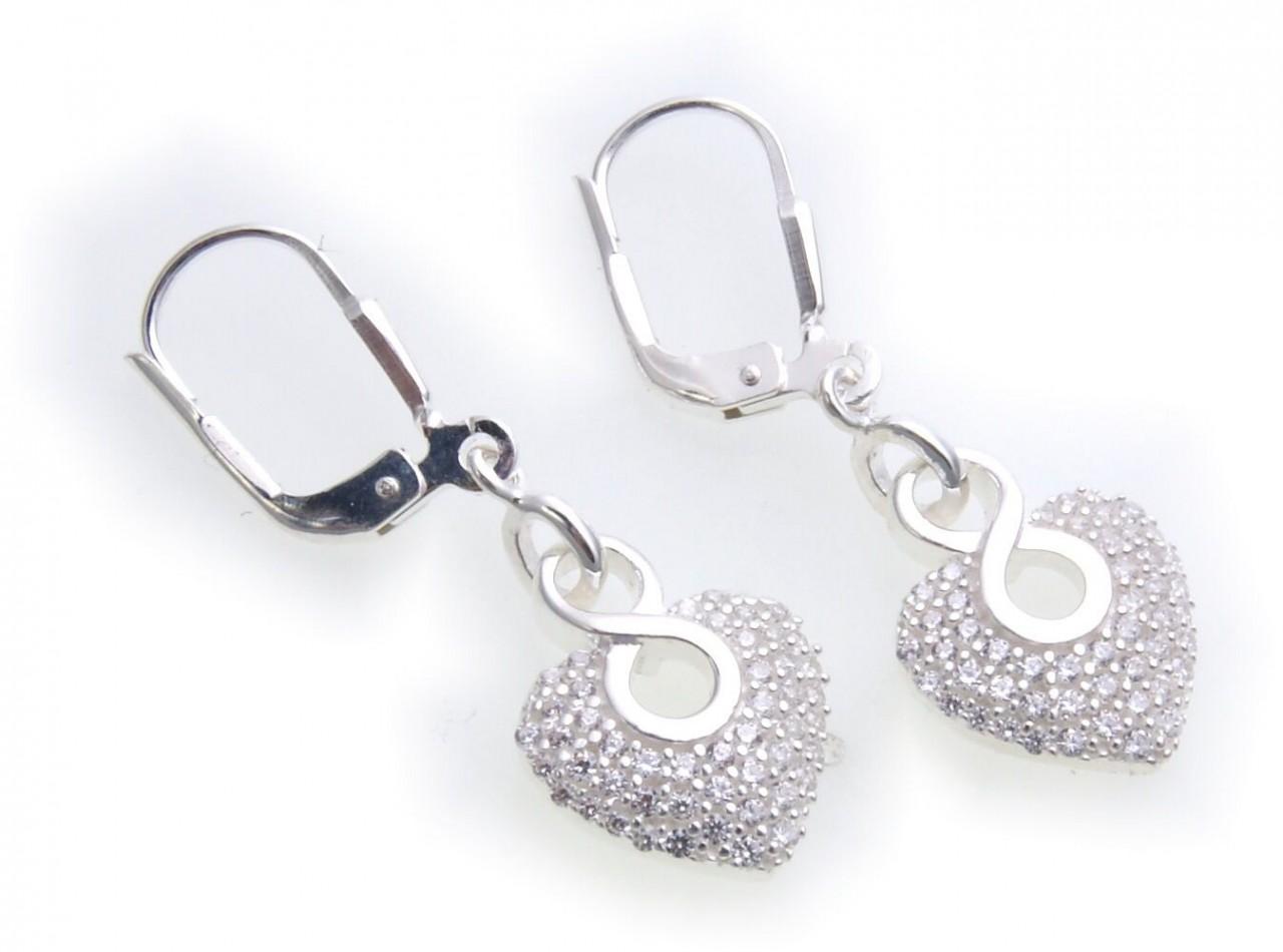 Ohrringe Hänger Herz mit Zirkonia echt Silber 925 Ohrhänger Unendlichkeit