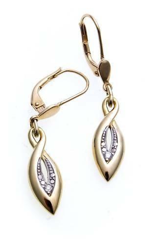 Ohrringe Hänger Gold 585 Brillant 0,02ct Ohrhänger Gelbgold Damen Diamant