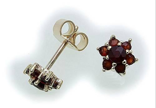 Damen Ohrringe Granat echt Gold 333 Gelbgold 8kt Ohrstecker Stecker Rot