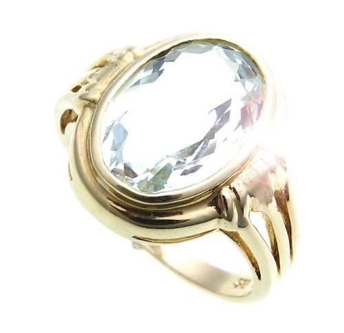 Damen Ring echt Blautopas 14 x 10 oval echt Gold 585 Gelbgold Topas Neu