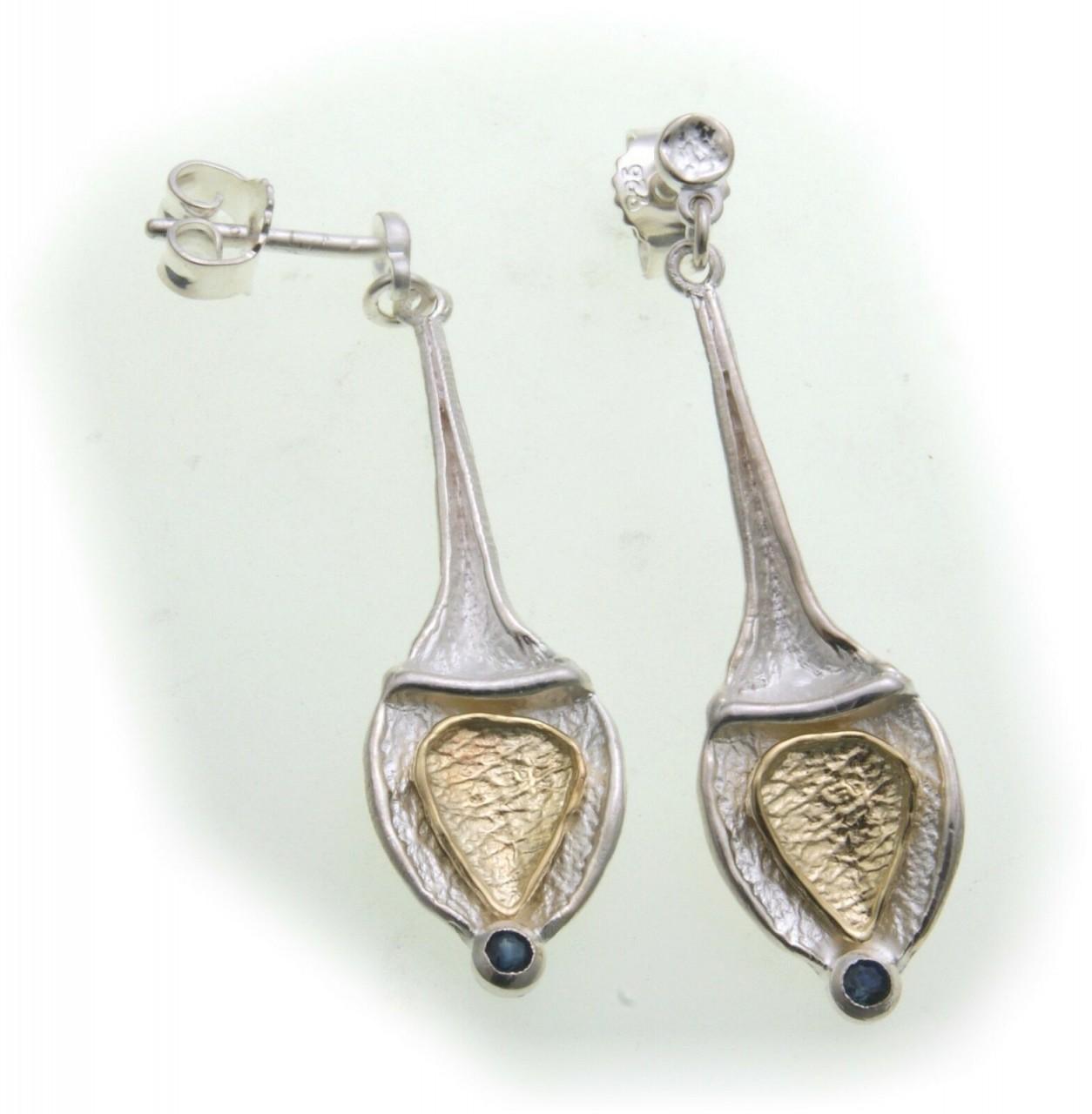 Ohrringe Hänger echt Sterlingsilber 925 Saphir Bicolor Ohrhänger Sterlingsilber