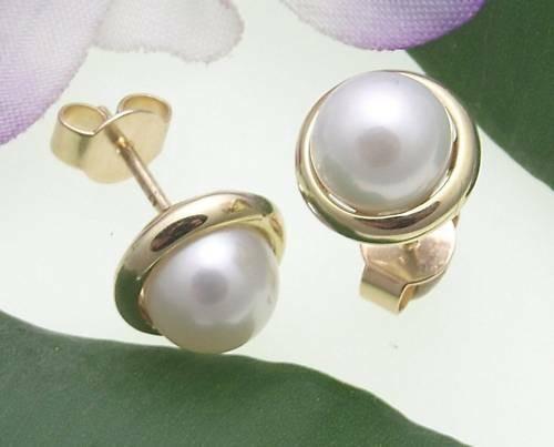 Damen Ohrringe Stecker Gold 333 echte Süßw.Perlen 7,5 mm Gelbgold Ohrstecker