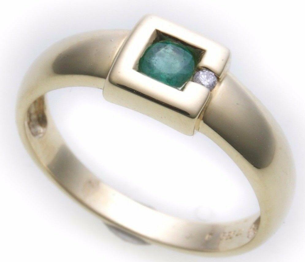 Damen Ring echt Gold 585 Smaragd 14kt Diamant Gelbgold Brillant 0,015ct TOP