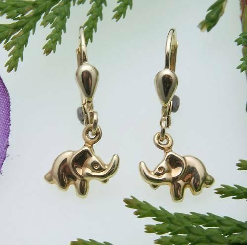 Kinder Ohrringe Ohrhänger Elefant 3D Glanz 333 Gold Gelbgold Qualität