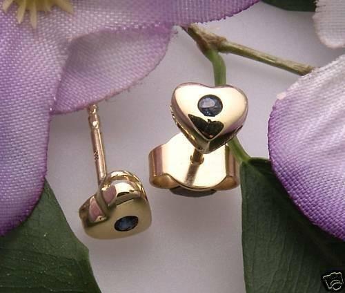 KInder Ohrringe Ohrstecker Herz echt Saphir Gold 333 Gelbgold Qualität Stecker