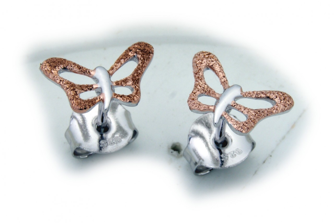 Ohrringe Stecker Schmetterling echt Silber 925 Sterlingsilber Ohrstecker Falter