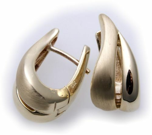 Damen Ohrringe Klapp Creolen echt Gold 585 teilmatt 14kt Gelbgold Klappcreolen
