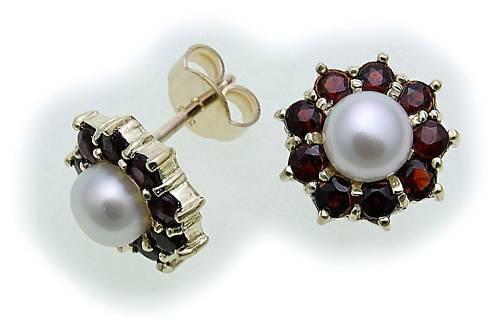 Damen Ohrringe Granat Zuchtperle Perlen in Gold 333 Gelbgold Ohrstecker