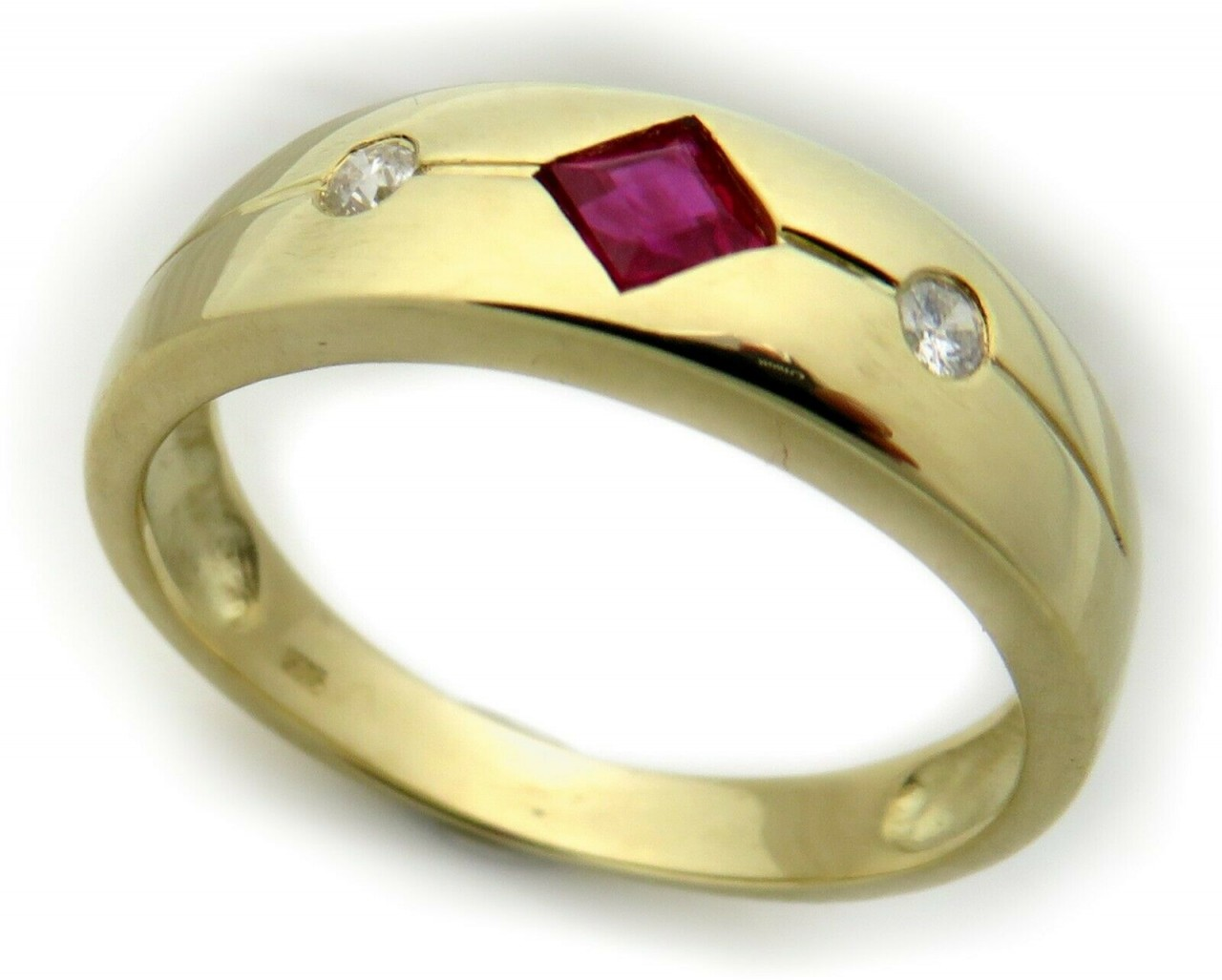 Damen Ring Rubin m. Diamant 0,04ct echt Gold 750 18 karat Gelbgold Brillant Neu
