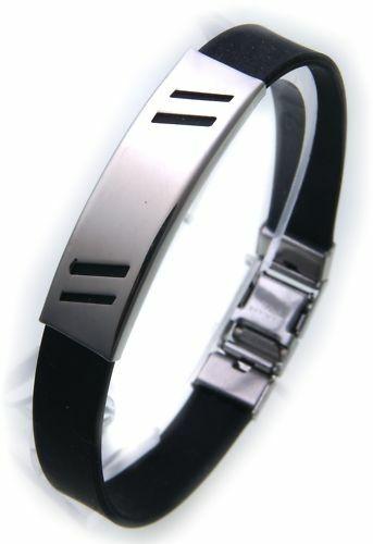 Herren Armband Kautschuk Edelstahl incl.Gravur 21 cm ID Band Schildarmband Neu