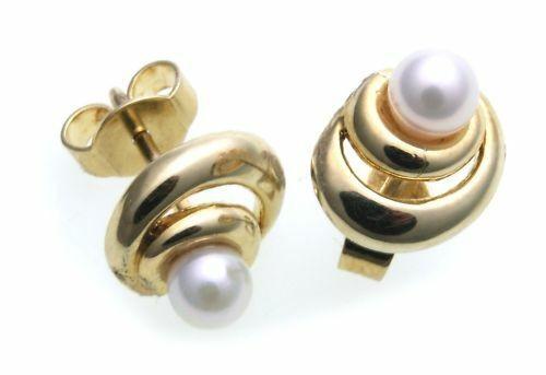 Damen Ohrringe Stecker echt Zuchtperlen 4 mm Gold 585 Gelbgold Perlen Ohrstecker