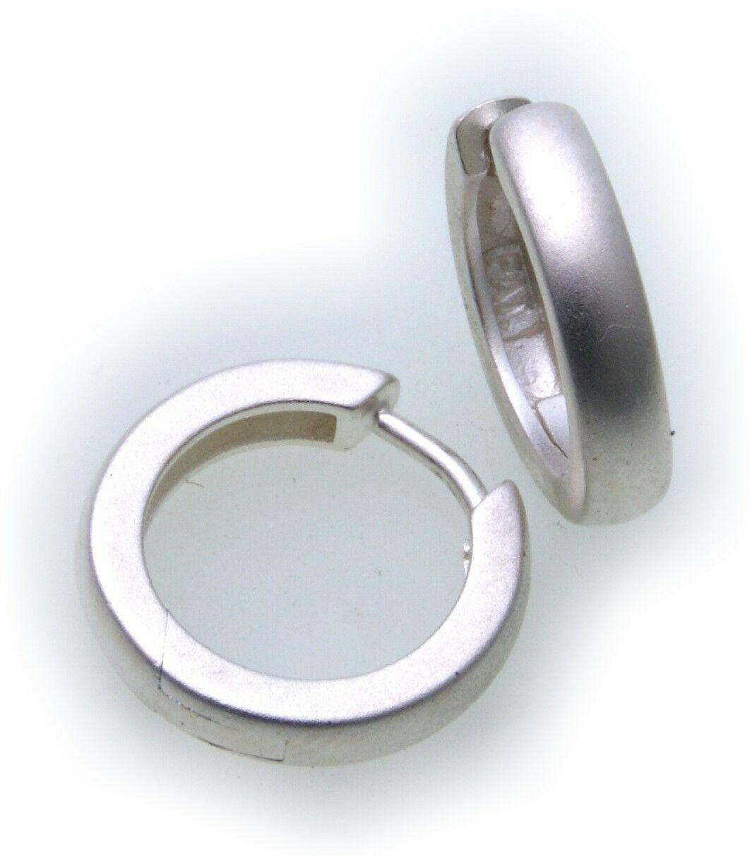 Ohrringe Klapp Creolen echt Silber 925/- Durchmesser 15 mm Sterlingsilber Unisex
