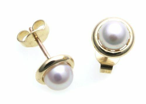 Damen Ohrringe Stecker echt Zuchtperlen 6 mm Gold 585 Perlen Gelbgold Ohrstecker