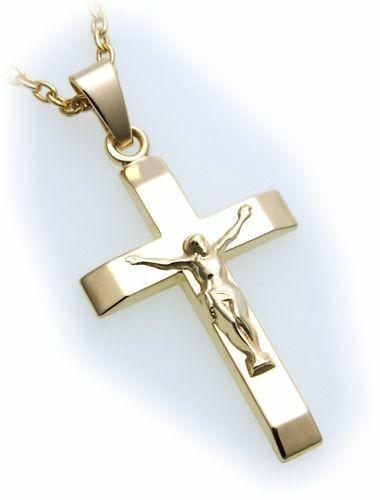 Anhänger Kreuz mit Jesus echt Gold 375 Gelbgold Unisex Neu Qualität günstig