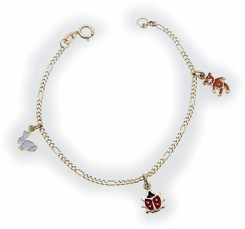 Kinder Armband Gold 333 Käfer Hase Bär Figarokette Gelbgold Qualität